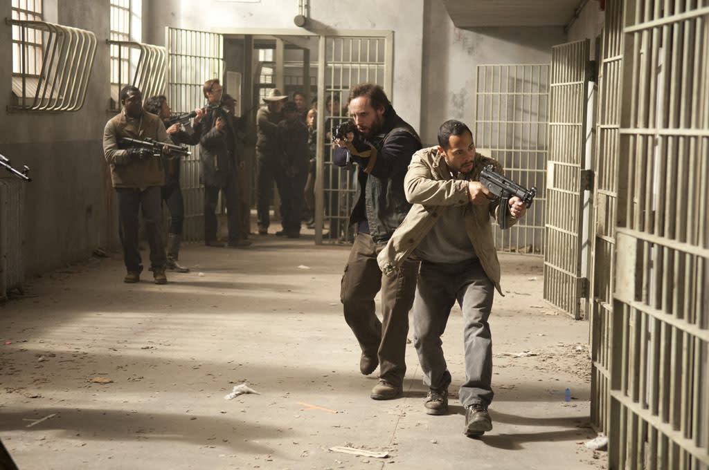 """Allen (Daniel Thomas May) and Martinez (Jose Pablo Cantillo) in """"The Walking Dead"""" Season 3 Finale, """"Welcome to the Tombs."""""""