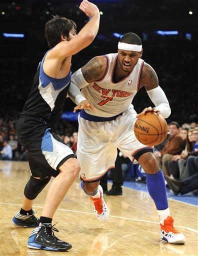Anthony's big finish rallies Knicks past Wolves