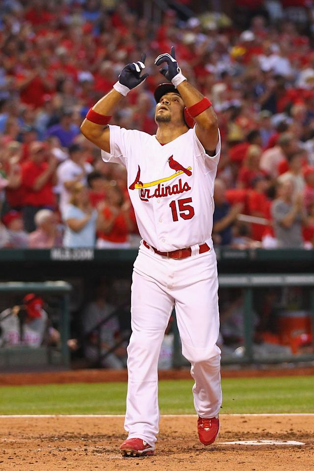 ST. LOUIS, MO - MAY 25: Rafael Furcal #15 of the St. Louis Cardinals celebrates his solo home run against the Philadelphia Phillies at Busch Stadium on May 25, 2012 in St. Louis, Missouri.  (Photo by Dilip Vishwanat/Getty Images)