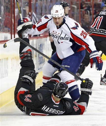 Ribeiro's late goal lifts Caps over Canes