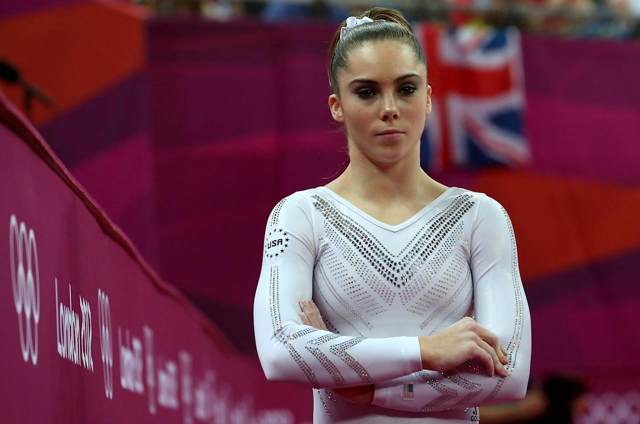 McKayla Maroney of United States looks on during the Artistic Gymnastics Women's Vault final on Day 9 of the London 2012 Olympic Games at North Greenwich Arena on August 5, 2012 in London, England.  (Photo by Ronald Martinez/Getty Images)
