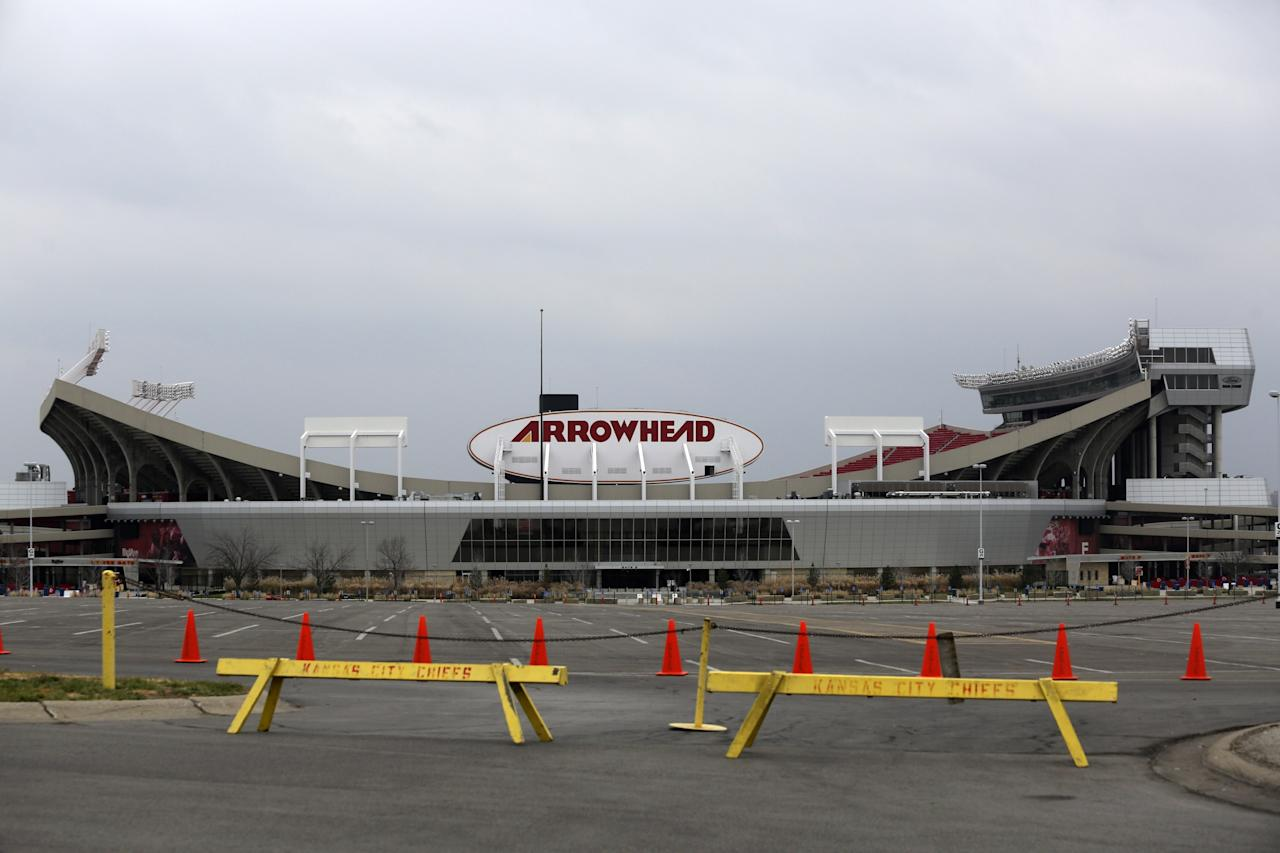 KANSAS CITY, MO - DECEMBER 1:  A general view of Arrowhead Stadium is seen on December 1, 2012 in Kansas City, Missouri. Linebacker Jovan Belcher of the Kansas City Chiefs allegedly shot and killed his girlfriend this morning, then drove to the Chiefs' practice facility and took his own life.  (Photo by Ed Zurga/Getty Images)