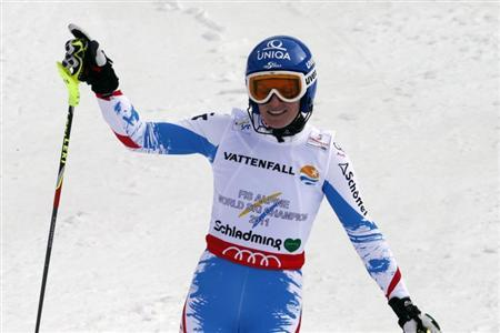 Marlies Schild of Austria reacts during the second run of the women's Slalom race at the World Alpine Skiing Championships in Schladming