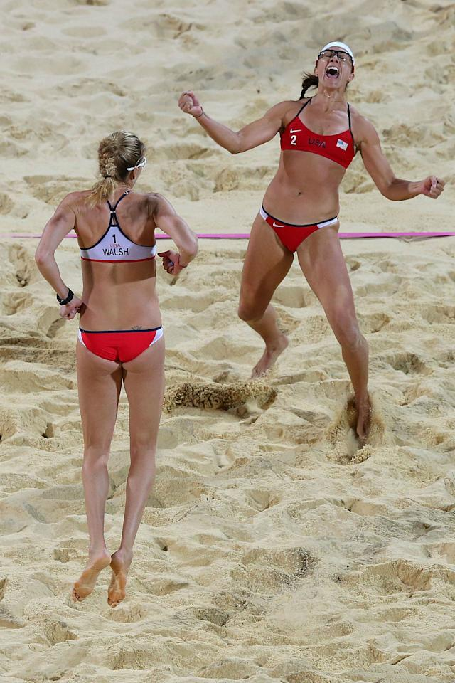 <p>Women's beach volleyball partners Kerri Walsh Jennings and Misty May-Treanor took home the gold medal in 2004, 2008 <em>and</em> 2012. <span></span></p>