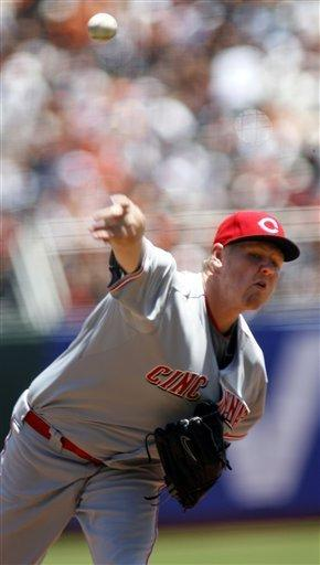 Cincinnati Reds' Matt Latos delivers against the San Francisco Giants in the first inning of a baseball game in San Francisco, Saturday, June 30, 2012. (AP Photo/Dino Vournas)