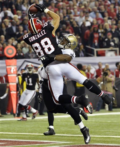 Falcons pick off Brees 5 times, beat Saints 23-13
