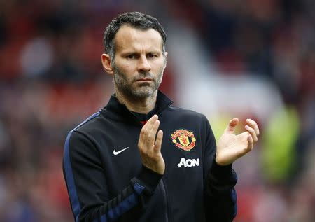 Manchester United's interim manager Giggs reacts during their English Premier League soccer match against Hull City at Old Trafford in Manchester