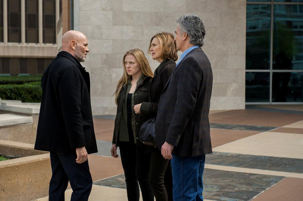 "Mitch Pileggi, Emma Bell, Brenda Strong and Patrick Duffy in the ""Dallas"" Season 2 episode, ""Guilt by Association."""