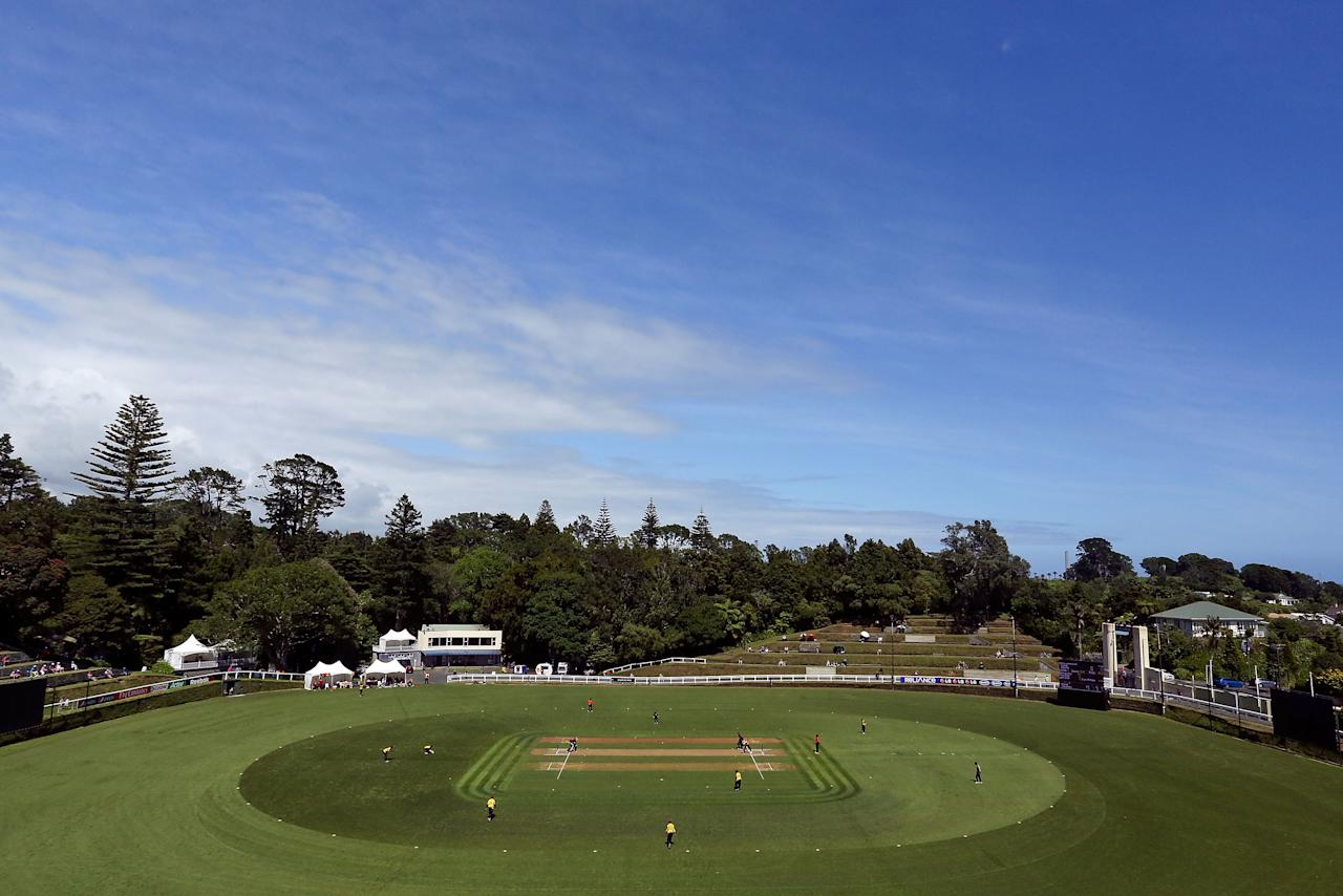 NEW PLYMOUTH, NEW ZEALAND - JANUARY 13:  A general view of Pukekura Park during the ICC Cricket World Cup Qualifier match between Kenya and Papua New Guinea at Pukekura Park on January 13, 2014 in New Plymouth, New Zealand.  (Photo by Hagen Hopkins-IDI/IDI via Getty Images)
