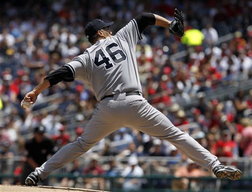 New York Yankees starting pitcher Andy Pettitte (46) throws during the first inning of a baseball game against the Washington Nationals at Nationals Park on Saturday, June 16, 2012 in Washington.  (AP Photo/Alex Brandon)
