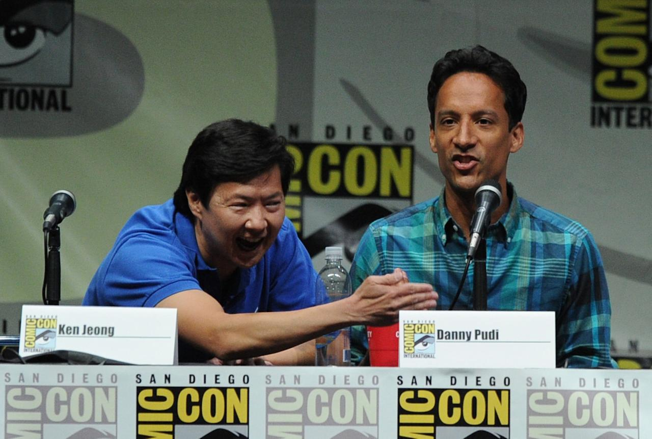 """SAN DIEGO, CA - JULY 21: Actors Ken Jeong (L) and Danny Pudi speak onstage at the """"Community"""" celebrating the fans during Comic-Con International 2013 at San Diego Convention Center on July 21, 2013 in San Diego, California. (Photo by Kevin Winter/Getty Images)"""