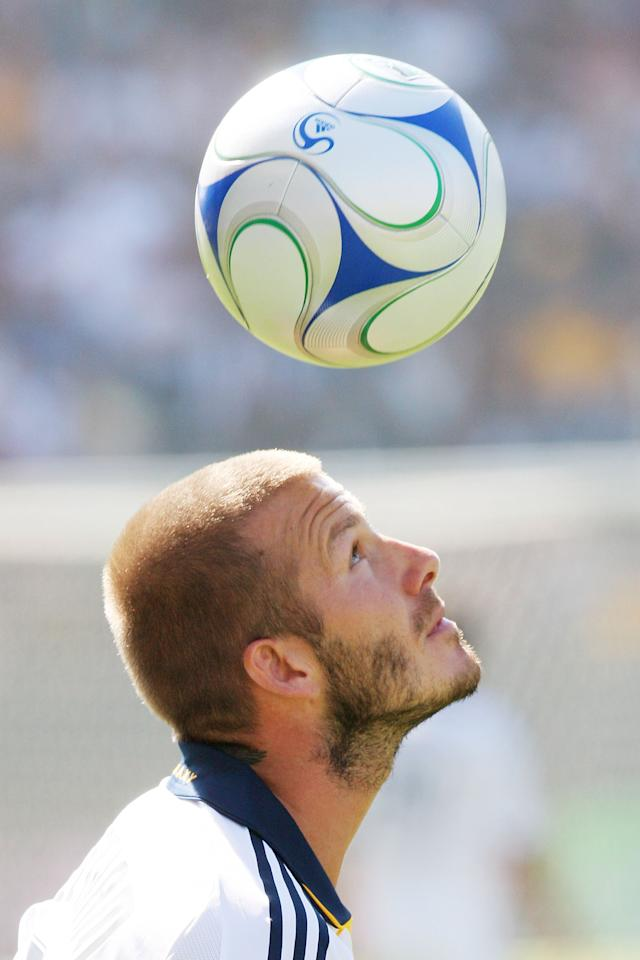 CARSON, CA - OCTOBER 26: David Beckham #23 of the Los Angeles Galaxy heads off a ball during their MLS game against FC Dallas at Home Depot Center on October 26, 2008 in Carson, California. (Photo by Robert Mora/MLS via Getty Images)