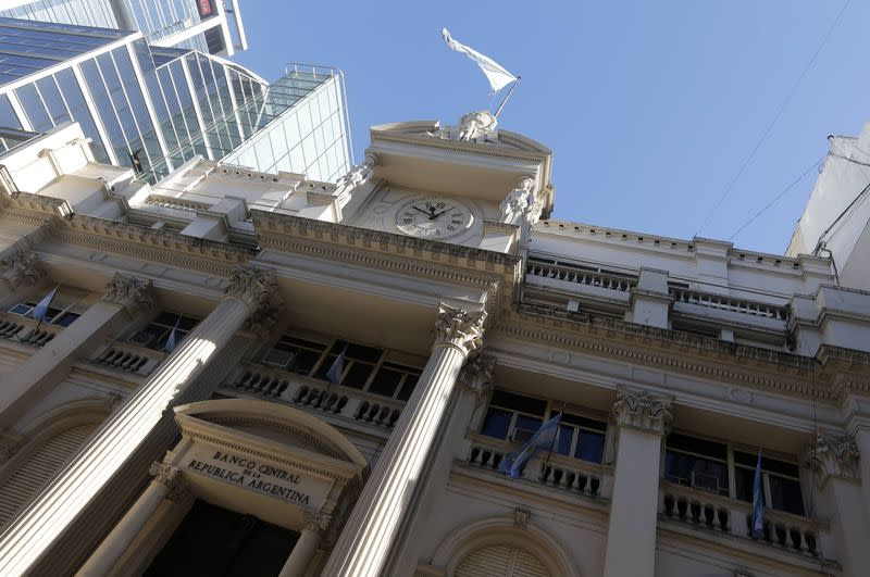 The facade of Argentina's Banco Central is seen in Buenos Aires