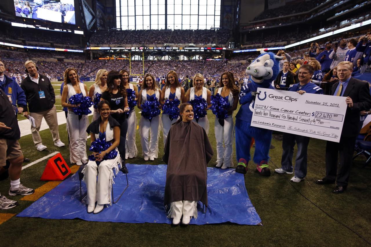 Nov 25, 2012; Indianapolis, IN, USA; Indianapolis Colts cheerleaders from left to right Crystal Ann and Megan M get their heads shaved by Colt mascot Blue during a game against the Buffalo Bills at Lucas Oil Stadium. The cheerleaders raised over $22,670 for cancer research in support of Colts coach Chuck Pagano who has leukemia. Mandatory Credit: Brian Spurlock-US Presswire