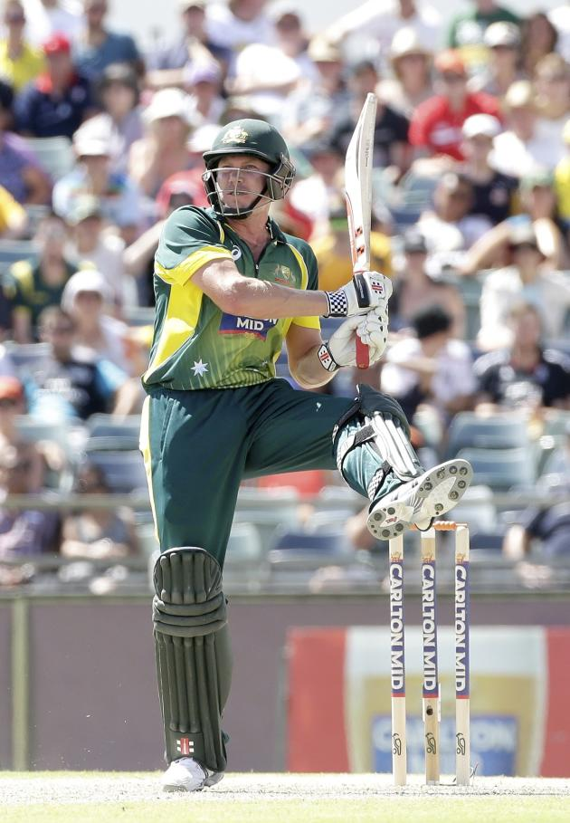 James Faulkner hits a six. REUTERS/Hamish Blair