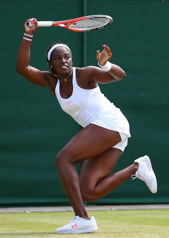 LONDON, ENGLAND - JUNE 29: Sloane Stephens of United States of America plays a forehand during the Ladies' Singles third round match against Petra Cetkovska of Czech Republicon day six of the Wimbledon Lawn Tennis Championships at the All England Lawn Tennis and Croquet Club on June 29, 2013 in London, England. (Photo by Julian Finney/Getty Images)