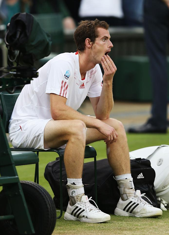 LONDON, ENGLAND - JULY 08:  Andy Murray of Great Britain reacts after being defeated in his Gentlemen's Singles final match against Roger Federer of Switzerland on day thirteen of the Wimbledon Lawn Tennis Championships at the All England Lawn Tennis and Croquet Club on July 8, 2012 in London, England.  (Photo by Julian Finney/Getty Images)
