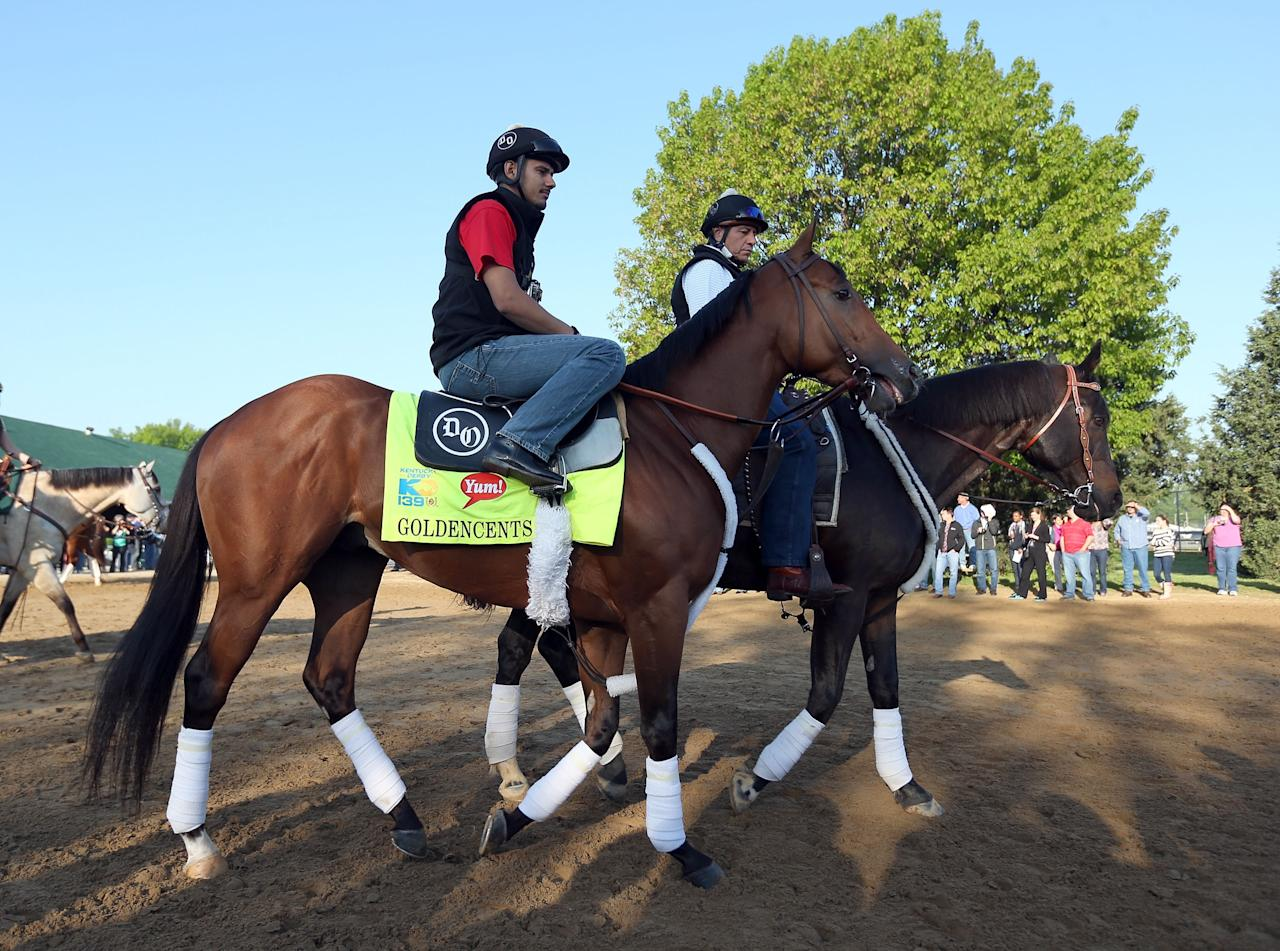 LOUISVILLE, KY - MAY 01:  Goldencents walks to the track during the morning training for the 2013 Kentucky Derby at Churchill Downs on May 1, 2013 in Louisville, Kentucky.  (Photo by Andy Lyons/Getty Images)
