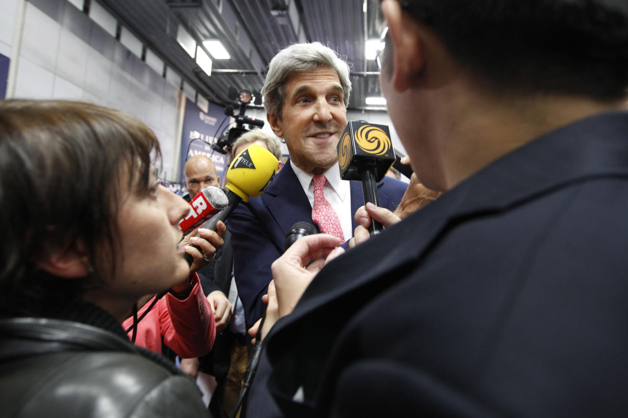 Sen. John Kerry, D-Mass., speaks to reporters in the media filing room ahead of the second presidential debate at Hofstra University, Tuesday, Oct. 16, 2012, Hempstead, N.Y. President Obama and Republican presidential candidate, former Massachusetts Gov. Mitt Romney will hold their second debate Tuesday night. (AP Photo/Mary Altaffer)