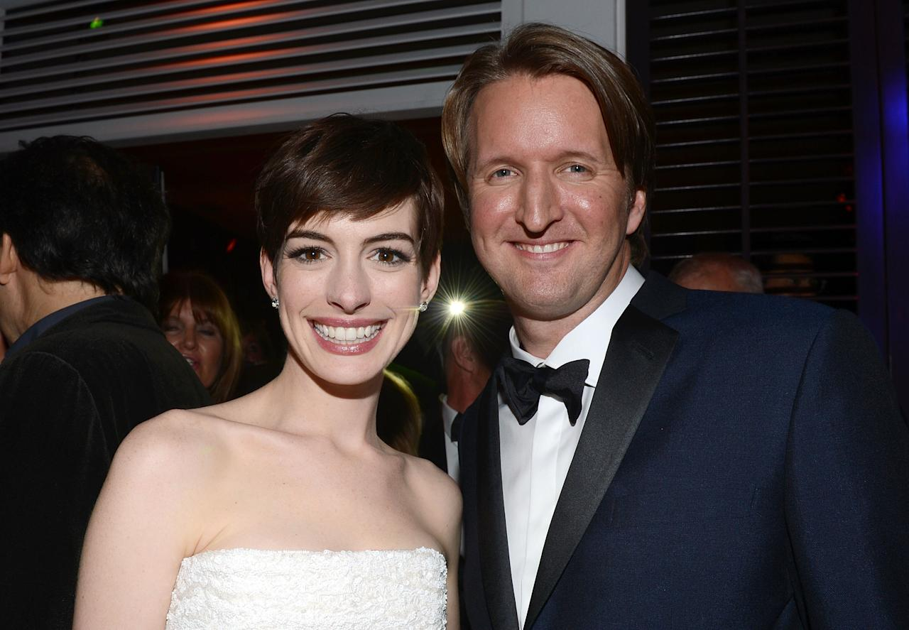 BEVERLY HILLS, CA - JANUARY 13:  Actress Anne Hathaway and director Tom Hooper attend the NBCUniversal Golden Globes viewing and after party held at The Beverly Hilton Hotel on January 13, 2013 in Beverly Hills, California.  (Photo by Jason Kempin/Getty Images for NBCUniversal)