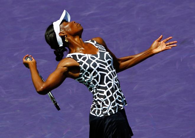KEY BISCAYNE, FL - MARCH 28:  Venus Williams in action against Agnieszka Radwanska of Poland during Day 10 of the Sony Ericcson Open at Crandon Park Tennis Center on March 28, 2012 in Key Biscayne, Florida.  (Photo by Mike Ehrmann/Getty Images)