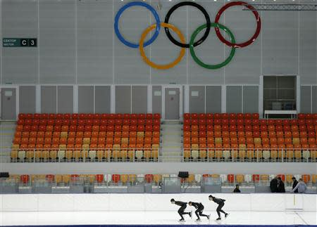 Members of the U.S. speedskating team practice at the Adler Arena on the Olympic Park as preparations continue for the Sochi 2014 Winter Olympics