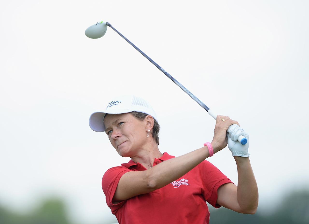 WATERLOO, CANADA - JULY 12: Catriona Matthew of Scotland hits a tee shot on the 10th hole during round two of the Manulife Financial LPGA Classic at the Grey Silo Golf Course on July 12, 2013 in Waterloo, Canada. (Photo by Harry How/Getty Images)