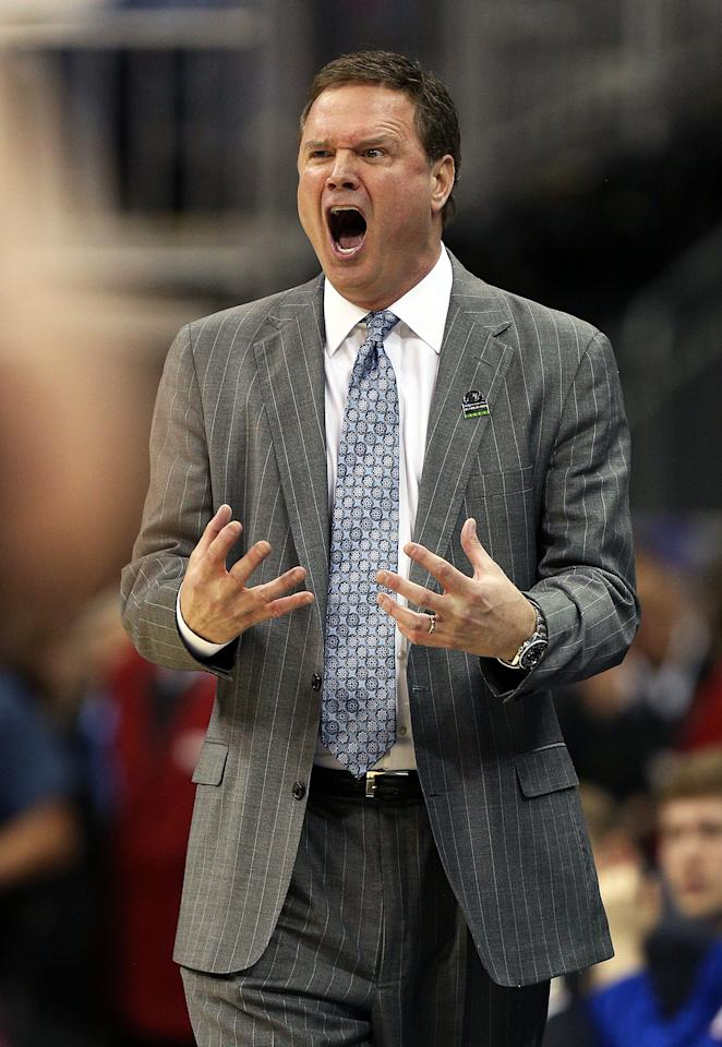 Head coach Bill Self of the Kansas Jayhawks reacts in the second half against the Western Kentucky Hilltoppers during the second round of the 2013 NCAA Men's Basketball Tournament at the Sprint Center on March 22, 2013 in Kansas City, Missouri.  (Photo by Ed Zurga/Getty Images)