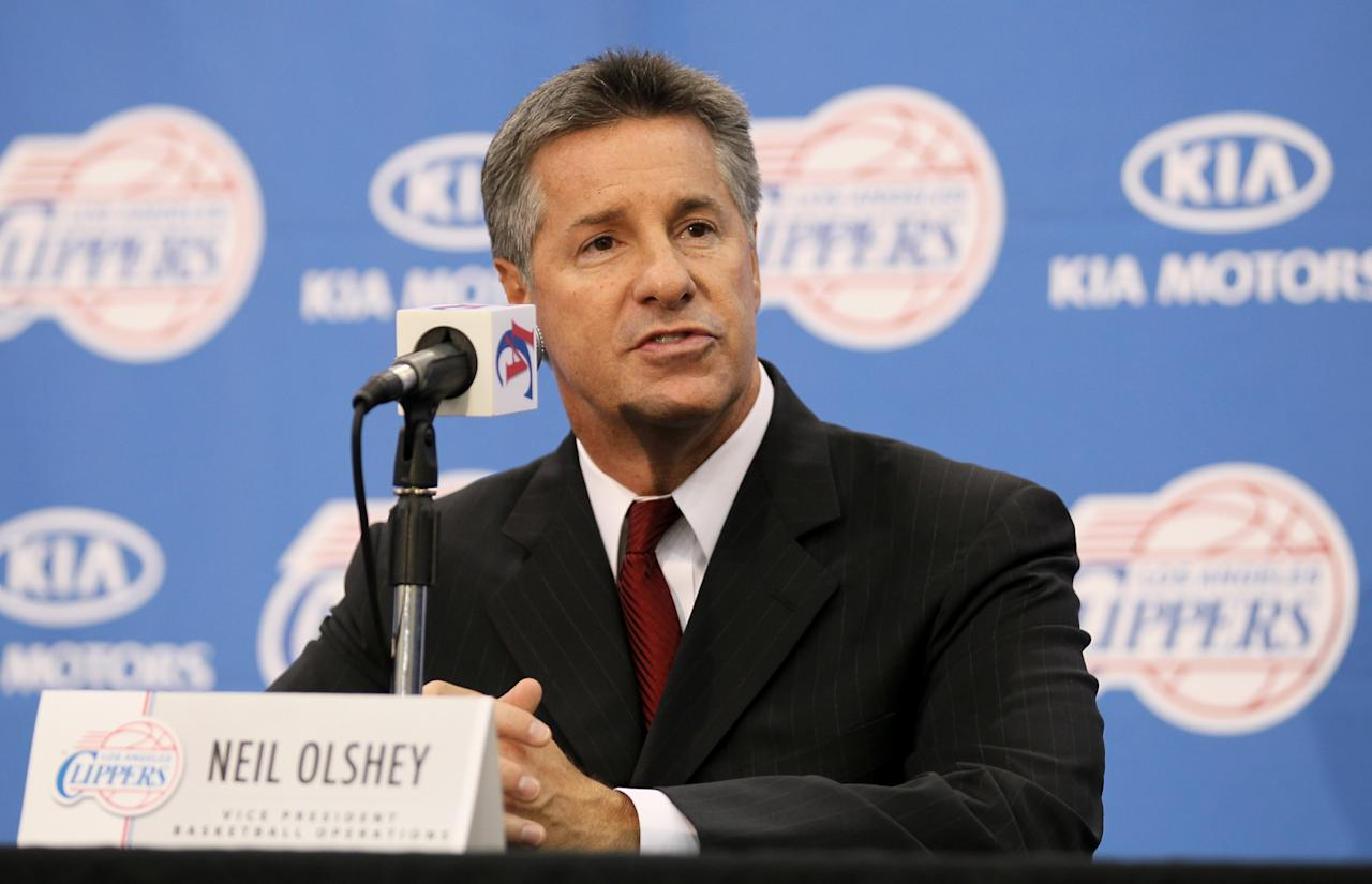 PLAYA VISTA, CA - DECEMBER 15:  Vice president of Basketball Operations Neil Olshey speaks at a press conference introducing Chris Paul as a member of the Los Angeles Clippers on December 15, 2011 at the Los Angeles Clippers Training Center in Playa Vista, California.  (Photo by Stephen Dunn/Getty Images)