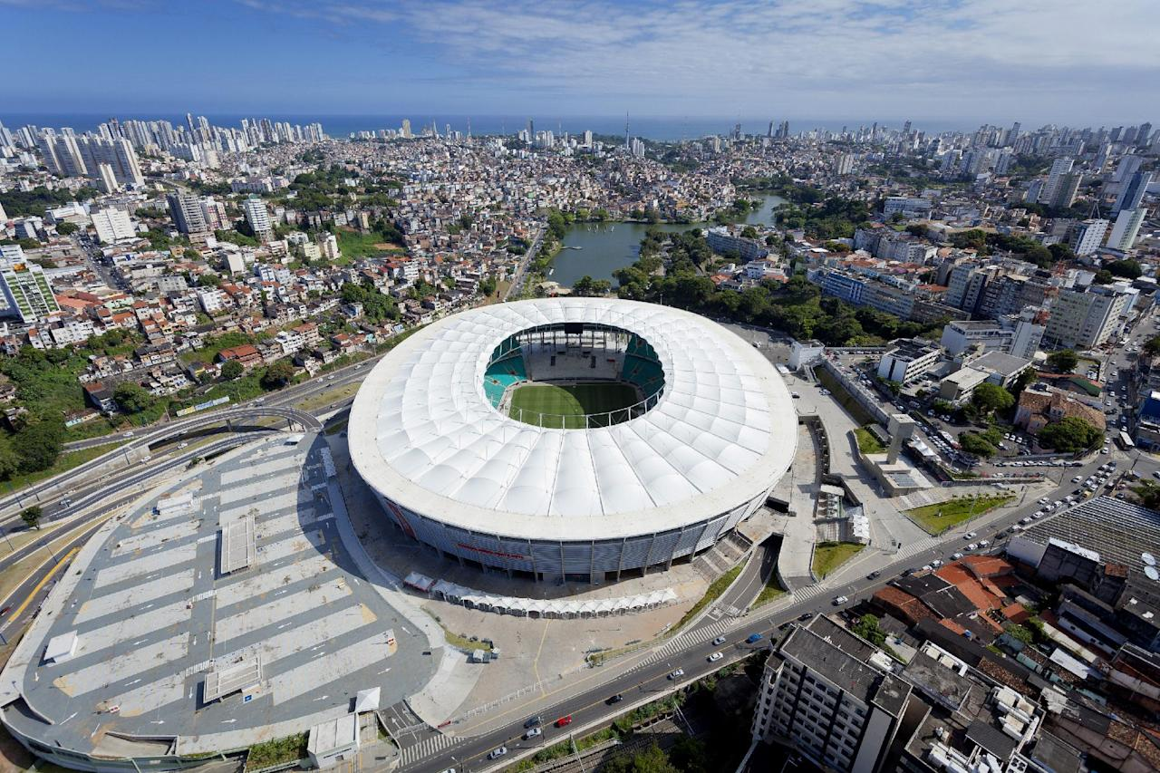 FILE -= In this October, 2013, file photo, released by Portal da Copa 2014, an aerial view of the Arena Fonte Nova stadium, in Salvador, Brazil. (AP Photo/Portal da Copa 2014, David Campbell) - SEE FURTHER WORLD CUP CONTENT AT APIMAGES.COM
