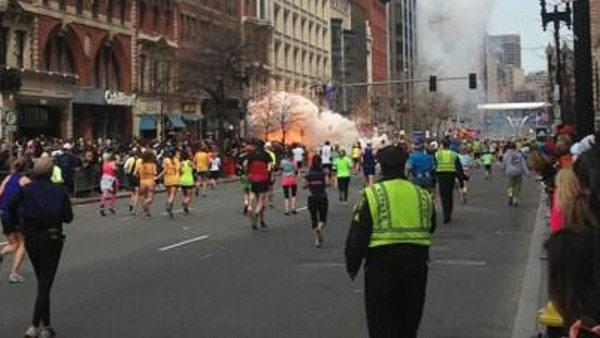 <p>Click play to watch the raw footage from the scen from the Boston Marathon explosions.</p>