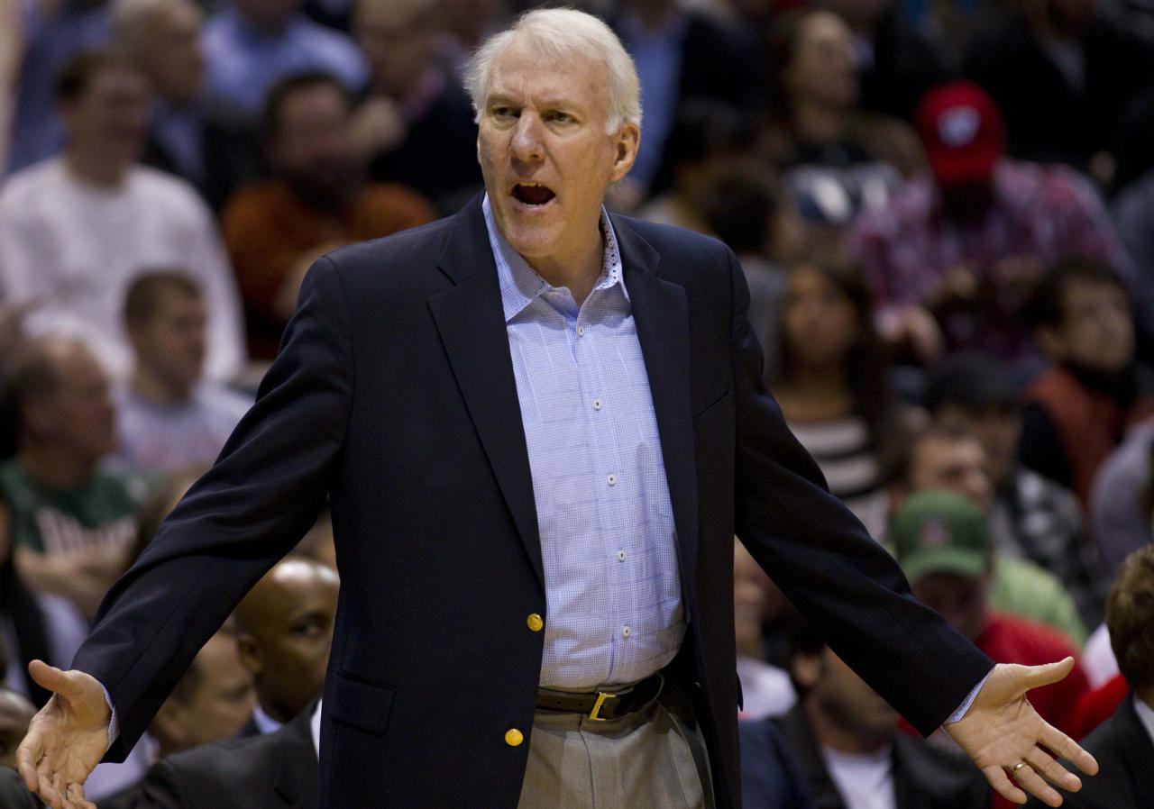 Jan 12, 2011; Milwaukee, WI, USA;  San Antonio Spurs head coach Greg Popovich reacts to a call during the first quarter against the Milwaukee Bucks at the Bradley Center.  Mandatory Credit: Jeff Hanisch-US PRESSWIRE