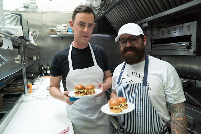 Vinny Dotolo and Colin Hanks on Food Network's Star Plates