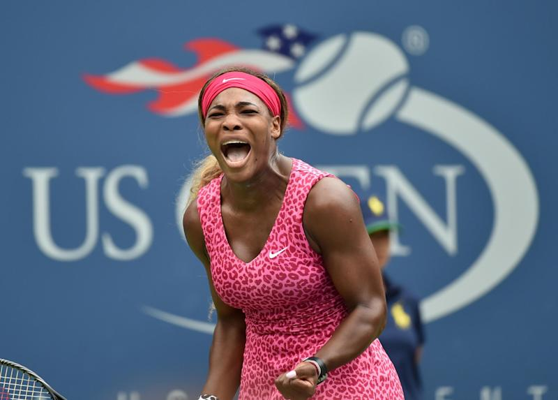 Serena Williams of the US reacts to a point against Varvara Lepchenko of the US during their 2014 US Open women's singles match at the USTA Billie Jean King National Tennis Center on August 30, 2014 in New York