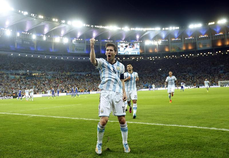 Argentina's Lionel Messi celebrates scoring his side's second goal during the group F World Cup soccer match between Argentina and Bosnia at the Maracana Stadium in Rio de Janeiro, Brazil, Sunday, June 15, 2014