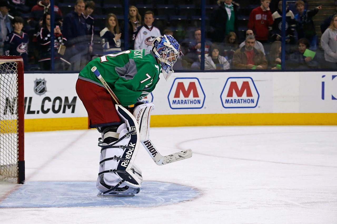 COLUMBUS, OH -MARCH 16: Sergei Bobrovsky #72 of the Columbus Blue Jackets warms up prior to the start of the game against the Phoenix Coyotes on March 16, 2013 at Nationwide Arena in Columbus, Ohio. Columbus warmed up in special green jerseys in commemoration of St. Patrick's Day. The jersey's will be auctioned off with the proceeds going to charity. (Photo by Kirk Irwin/Getty Images)