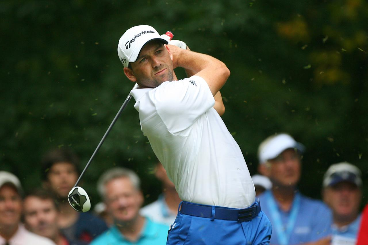 GREENSBORO, NC - AUGUST 19: Sergio Garcia of Spain hits his tee shot on the second hole during the final round of the Wyndham Championship at Sedgefield Country Club on August 19, 2012 in Greensboro, North Carolina. (Photo by Hunter Martin/Getty Images)