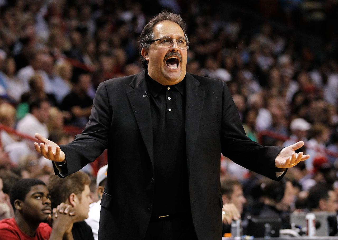 MIAMI, FL - FEBRUARY 19: Orlando Magic Head Coach Stan Van Gundy reacts during a game against the Miami Heat at American Airlines Arena on February 19, 2012 in Miami, Florida. It was reported on May 21, 2012 that the Orlando Magic fired Head Coach Stan Van Gundy and GM Otis Smith. (Photo by Mike Ehrmann/Getty Images)