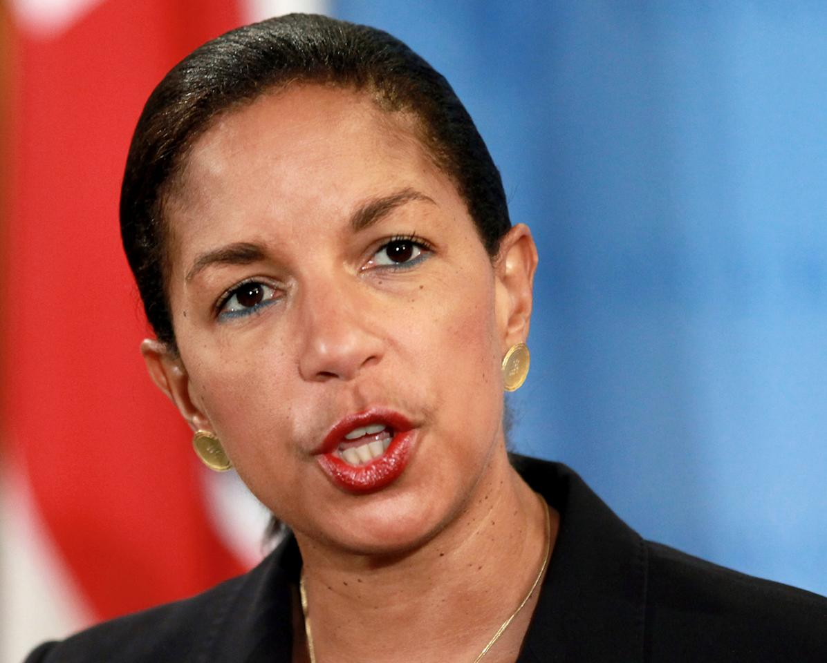 FILE - This April 14, 2012 file photo shows U.S. Ambassador to the United Nations Susan Rice speaking at U.N. headquarters. With congressional opposition softening, U.N. Ambassador Susan Rice could find her name in contention as early as this week to succeed Hillary Rodham Clinton as secretary of state. Her nomination to the top Cabinet job could signal the potential for a more robust intervention in world crises in President Barack Obama's second term. (AP Photo/Craig Ruttle, File)