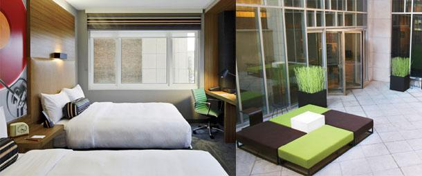 Style for less: An Aloft double queen room and courtyard.