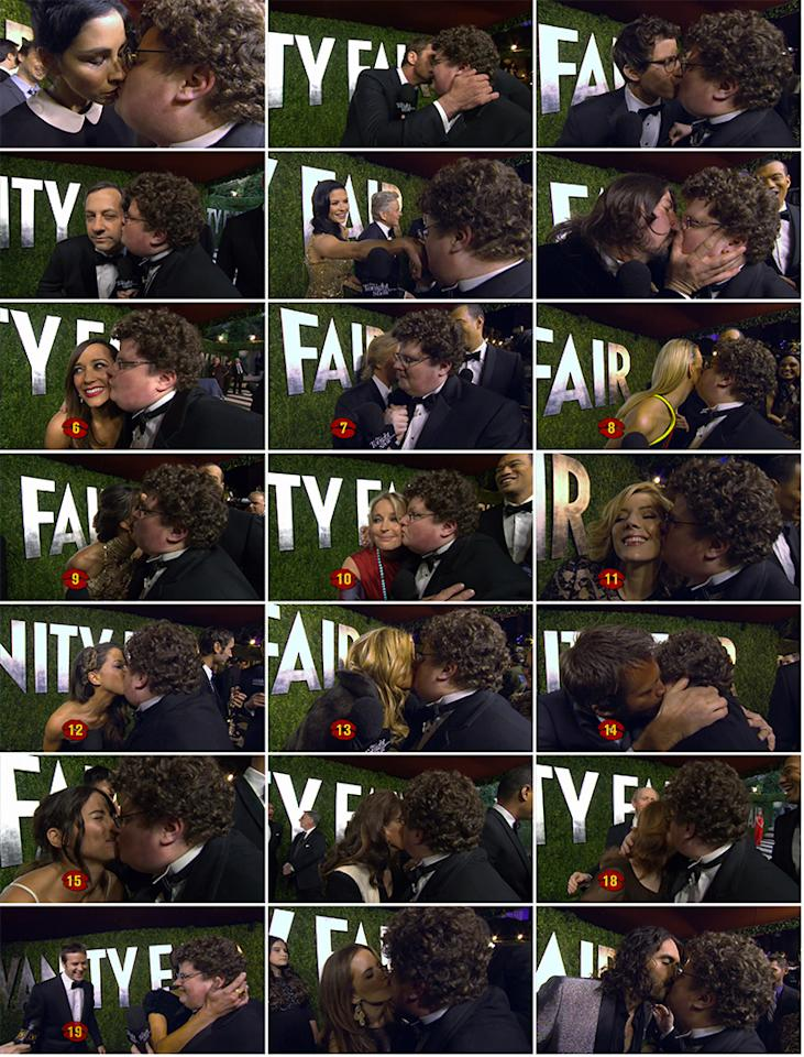 """With support from """"The Tonight Show With Jay Leno"""" (and a challenge from Leno himself), Jesse Heiman attended the Vanity Fair Oscar Party on Feb. 24, 2013 to <a href=""""http://www.youtube.com/watch?v=nbMe3ukrFaE"""">""""collect kisses for Jay"""" from celebs</a>. And he was <a href=""""http://www.youtube.com/watch?v=AvVjyWHb3Wo"""">pretty successful</a>!<br /><br /> While the Go Daddy nerd almost convinced the gorgeous Salma Hayek to give him a little smack on the cheek, he got snubbed by Jennifer Lawrence, Halle Berry, and Sandra Bullock -- despite his pleas to """"come kiss me!"""" Hugh Jackman offered these words of wisdom to the budding star: """"After that ad, you don't have to kiss anymore. That was all good."""" On the other hand, the always-game Sarah Silverman went for it, and then hilariously commented that Heiman tasted like milk. He also got a pretty passionate smooch from Dave Grohl (before the rock star wiped off his mouth) and Russell Brand, who said, """"I find you very comforting… Don't ruin my hair."""" After asking to borrow 300 seconds of Gerard Butler's time, he earned a kiss on the cheek from the surprisingly funny actor. """"His accent's hot,"""" said a blushing Heiman. Other stars who went the extra mile: Rashida Jones, David Spade, Bo Derek, Jennifer Coolidge, Judd Apatow, and Andy Samberg (who may or may not write a song about Heiman). Bryan Cranston opted to give his wife, Robin Dearden, a romantic kiss instead. Smart move, Cranston! <br /><br /> The final count: 21 kisses!<br /><br />"""