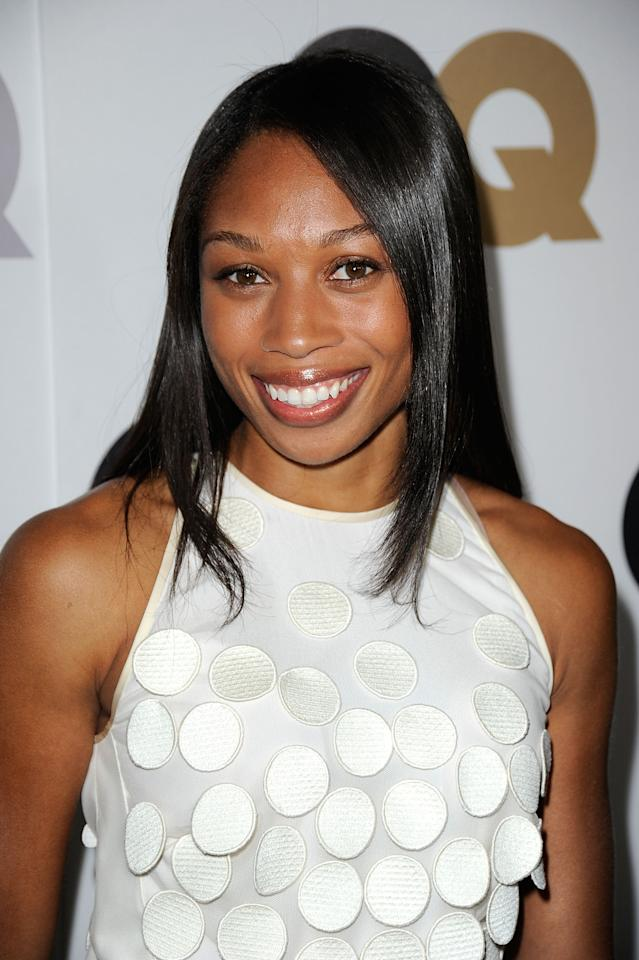 """LOS ANGELES, CA - NOVEMBER 17:  Olympic Gold Medalist, Allyson Felix arrives at the 16th Annual GQ """"Men Of The Year"""" Party at Chateau Marmont on November 17, 2011 in Los Angeles, California.  (Photo by Frazer Harrison/Getty Images)"""