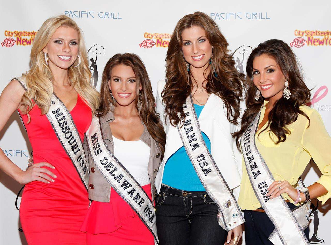 NEW YORK, NY - MAY 08:  (L-R) Miss Missouri USA Katie Kearney, Miss Delaware USA Krista Clausen, Miss Alabama USA Katherine Webb, and Miss Louisiana USA Erin Edmiston attend the CitySightseeing New York Cruise at Pier 78 on May 8, 2012 in New York City.  (Photo by Cindy Ord/Getty Images)