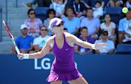 Aug 29, 2014; New York, NY, USA; Mirjana Lucic-Baroni (CRO) returns a shot to Simona Halep (ROU) on the Grandstand Court on day five of the 2014 U.S. Open tennis tournament at USTA Billie Jean King National Tennis Center. (Anthony Gruppuso-USA TODAY Sports)