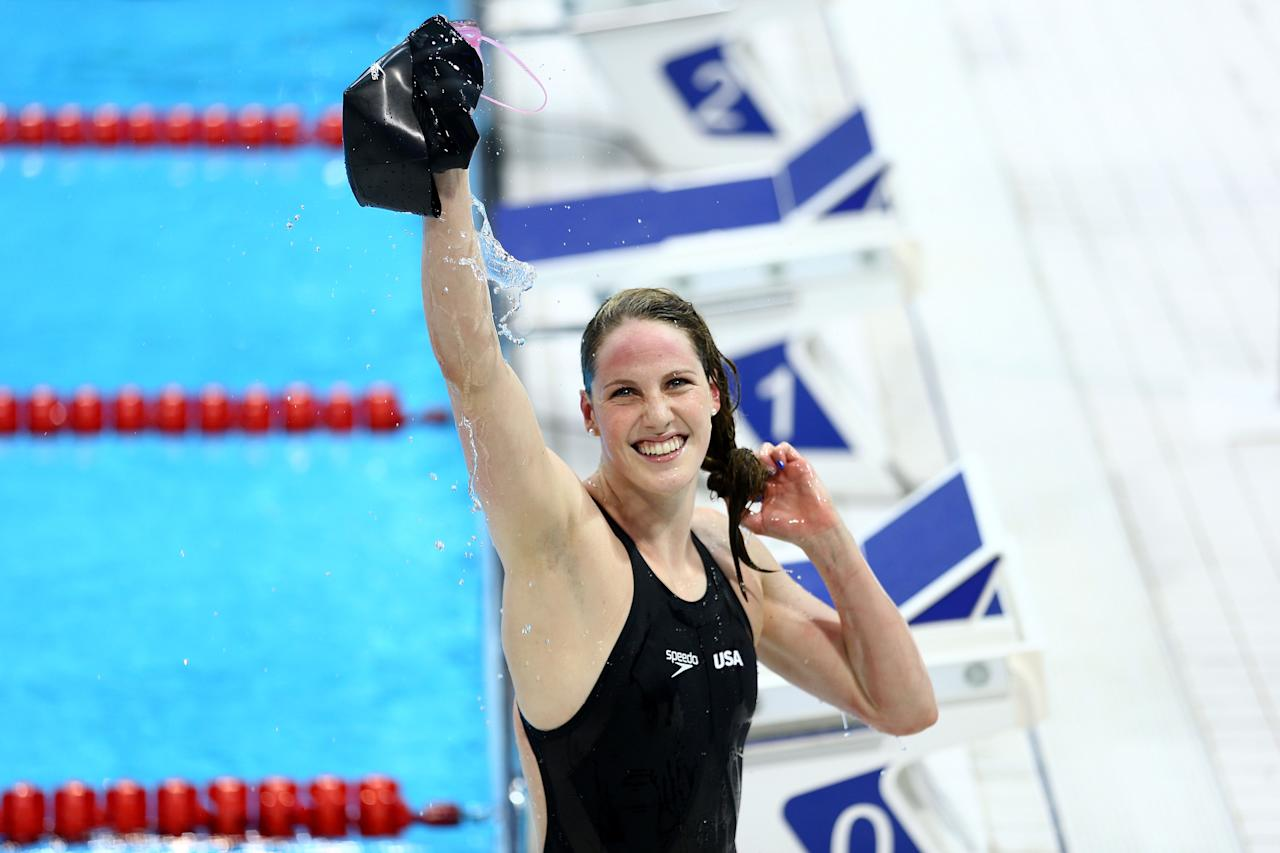 LONDON, ENGLAND - AUGUST 03:  Missy Franklin of the United States waves to the crowd after winning the Women's 200m Backstroke Final on Day 7 of the London 2012 Olympic Games at the Aquatics Centre on August 3, 2012 in London, England.  (Photo by Paul Gilham/Getty Images)