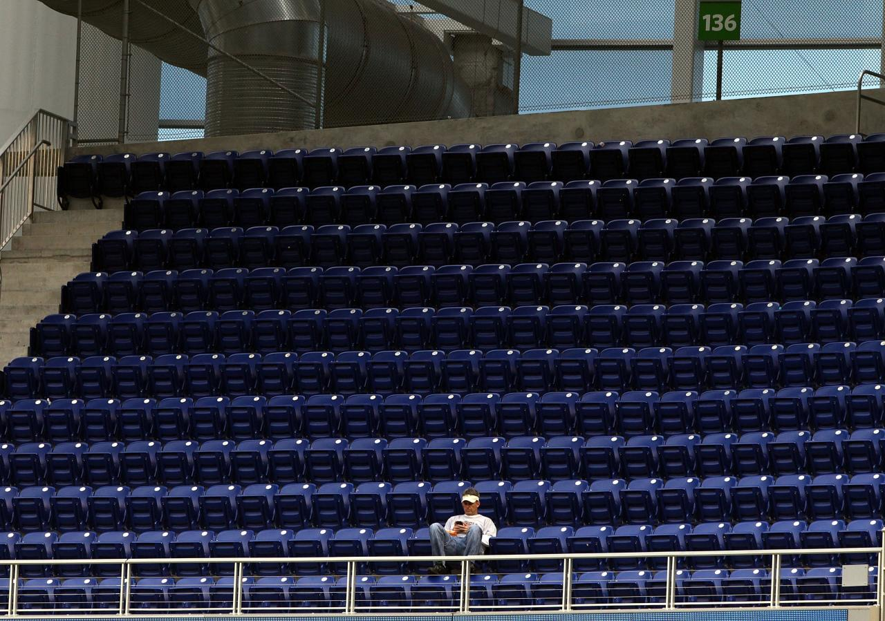 MIAMI, FL - APRIL 09:  Empty seats are shown as the Atlanta Braves play  against the Miami Marlins at Marlins Park on April 9, 2013 in Miami, Florida.  (Photo by Marc Serota/Getty Images)