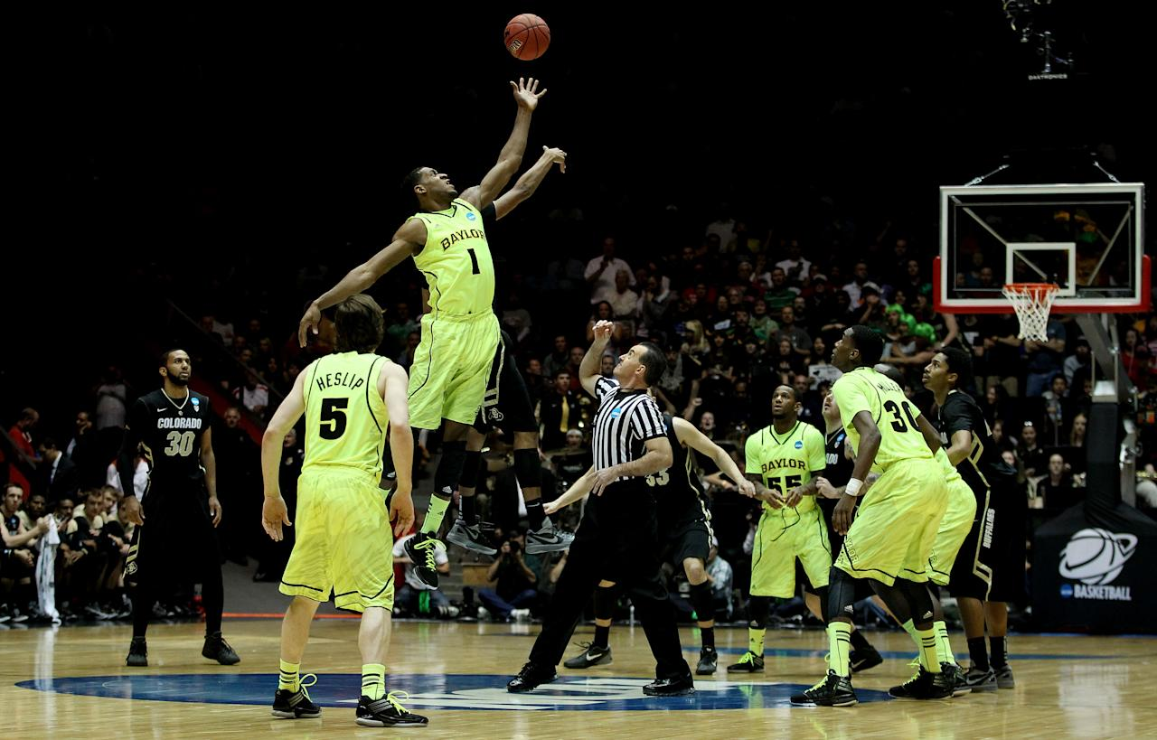 ALBUQUERQUE, NM - MARCH 17:  The Baylor Bears tip-off against the Colorado Buffaloes to start the game during the third round of the 2012 NCAA Men's Basketball Tournament at The Pit on March 17, 2012 in Albuquerque, New Mexico.  (Photo by Christian Petersen/Getty Images)