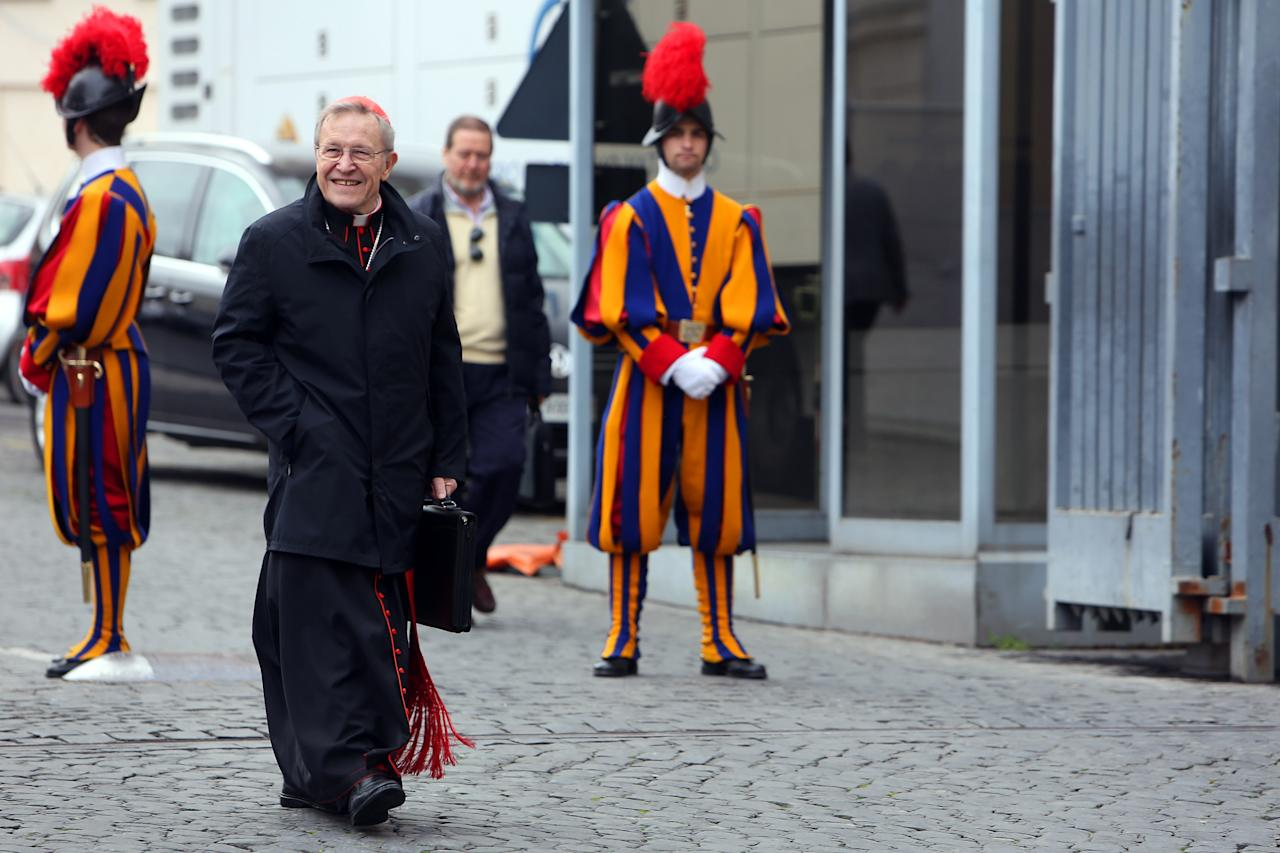 VATICAN CITY, VATICAN - MARCH 07:  German cardinals Walter Kasper leaves the Paul VI Hall at the end of a session of cardinals general congregations on March 7, 2013 in Vatican City, Vatican.  There is no indication as yet when a Papal conclave will take place following the resignation of Pope Benedict XVI. (Photo by Franco Origlia/Getty Images)