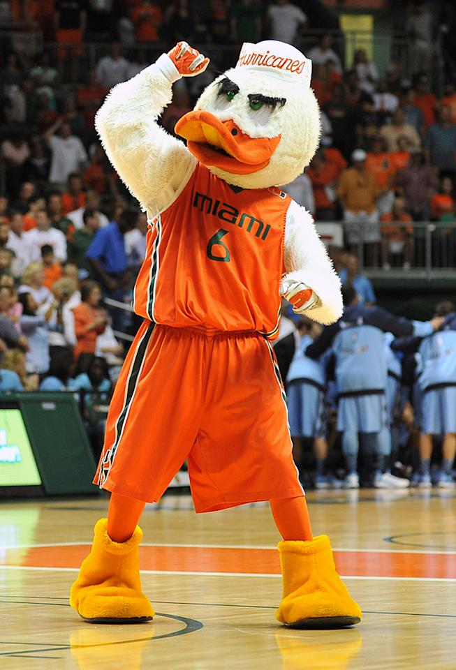 Sebastian the Ibis, the mascot of the Miami Hurricanes, performs during a game against the North Carolina Tar Heels at the BankUnited Center on February 9, 2013 in Coral Gables, Florida. Miami defeated North Carolina 87-61. (Photo by Lance King/Getty Images)