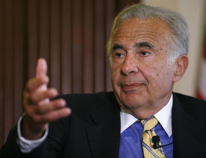 File photograph of Investor Carl Icahn speaking at the Wall Street Journal Deals & Deal Makers conference at the New York Stock Exchange